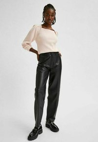 Selected Femme - Leather trousers - black - 1