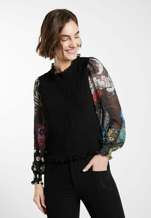 DRAPED - Long sleeved top - black