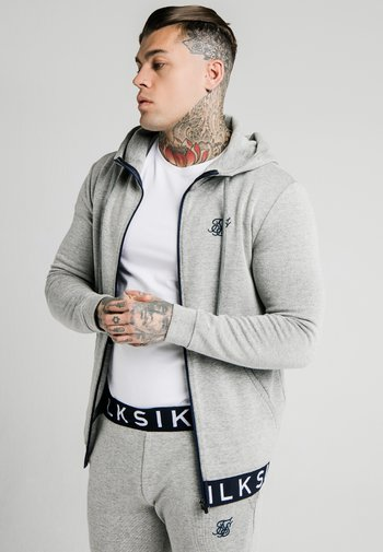 ELASTIC JACQUARD ZIP THROUGH HOODIE