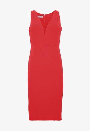 V NECK MIDI DRESS - Denní šaty - red