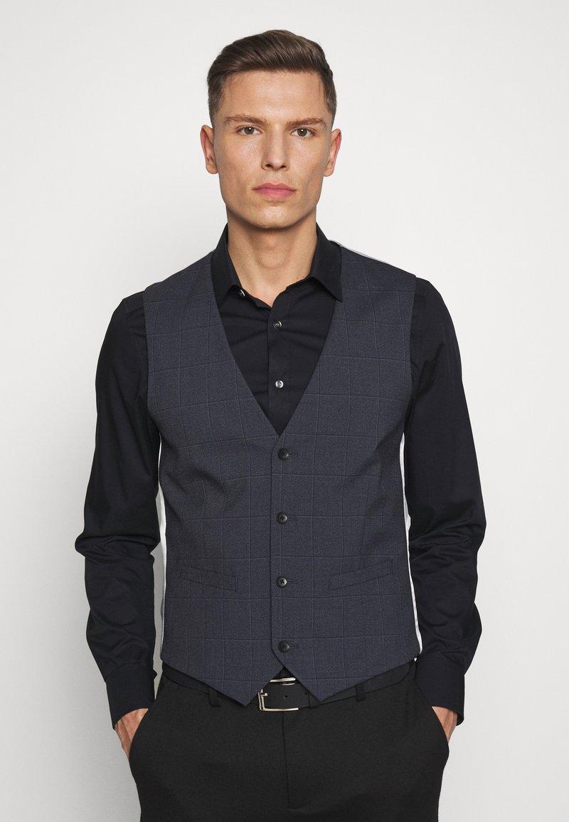 Esprit Collection - WINDOW CHECK - Waistcoat - dark blue