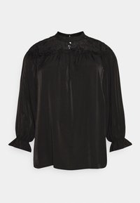 Glamorous Curve - BROIDERY TRIM BLOUSE WITH LONG SLEEVES AND HIGH-NECK  - Blouse - black - 5