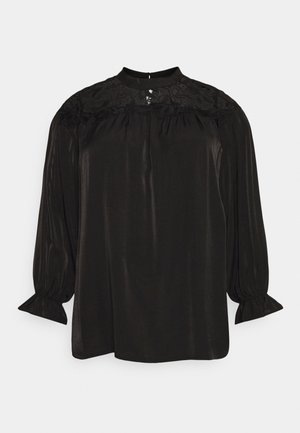 BROIDERY TRIM BLOUSE WITH LONG SLEEVES AND HIGH-NECK  - Blouse - black