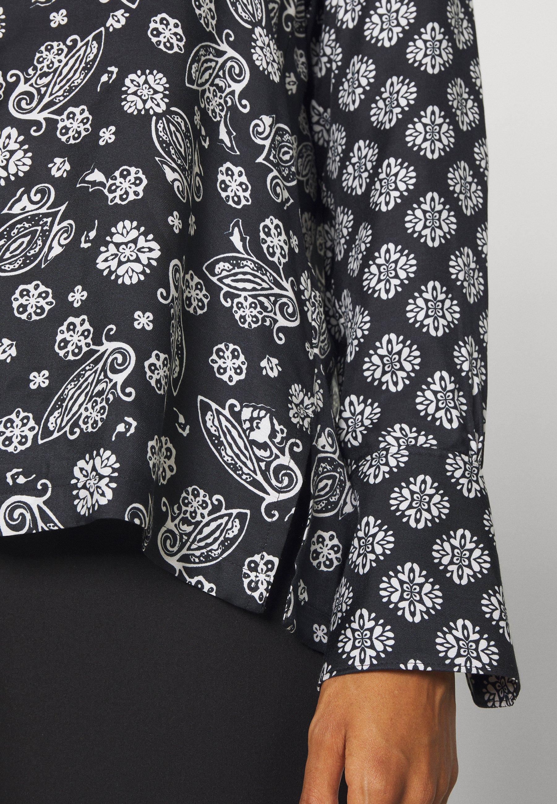 Marc O'Polo BLOUSE COLLAR LONG SLEEVED PRINTED - Overhemdblouse - multi/black - Dameskleding Uniseks