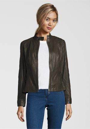 LOKI - Leather jacket - rubin olive