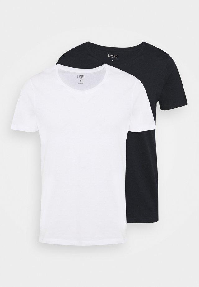 SCOOP 2 PACK - Basic T-shirt - white/dark blue