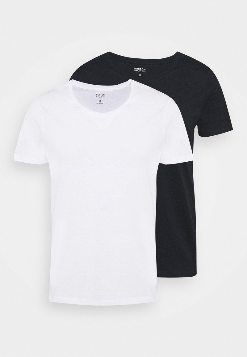 Burton Menswear London - SCOOP 2 PACK - T-shirt basic - white/dark blue
