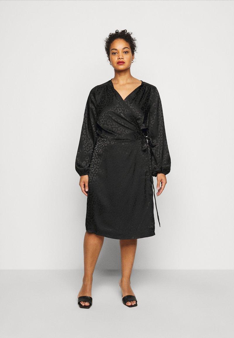 ONLY Carmakoma - CARDAMINA WRAP KNEE DRESS - Day dress - black