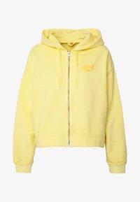 crop zip hoodie cali box tab garment dye pale banana
