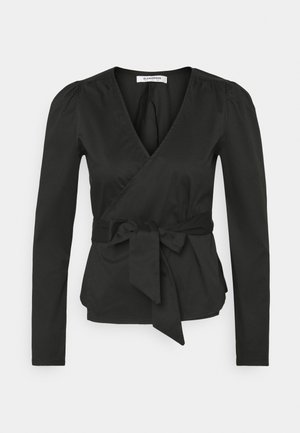 WRAP TIE BLOUSE - Bluser - black
