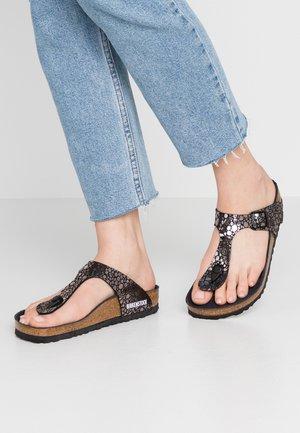 GIZEH - T-bar sandals - metallic stones black