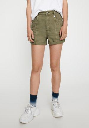 Denim shorts - mottled dark green