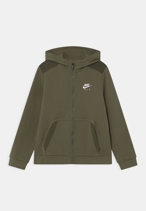 Zip-up hoodie - medium olive/khaki/white