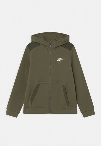 Zip-up sweatshirt - medium olive/khaki/white
