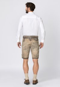 Stockerpoint - WIGGAL - Leather trousers - sand larded/green - 2