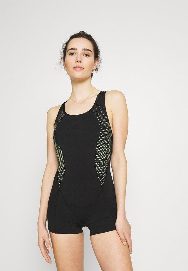 RACERBACK LEGSUIT - Maillot de bain - black/zest green