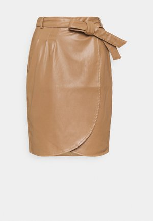 SKIRT OVERLAP SHORT BELT - Pencil skirt - cappuccino