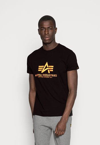 Print T-shirt - black /neon orange
