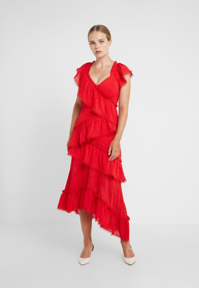 TIERED ROUGE DRESS - Robe de cocktail - tomato red