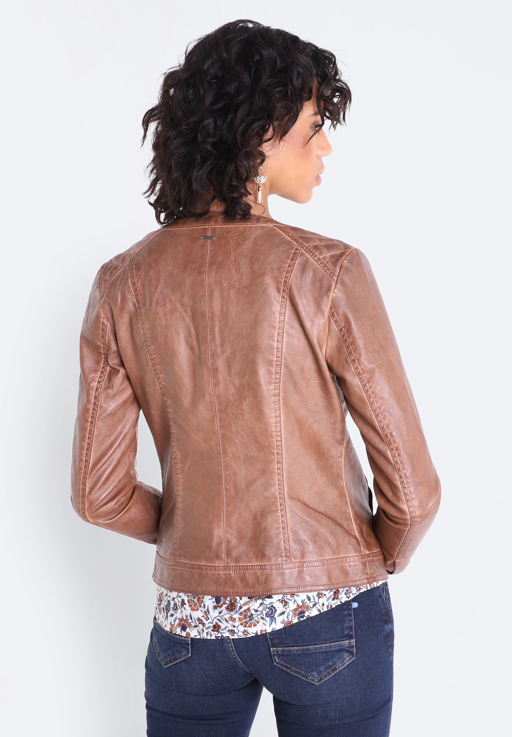 BONOBO Jeans BONOBO Kunstlederjacke marron clair/orange