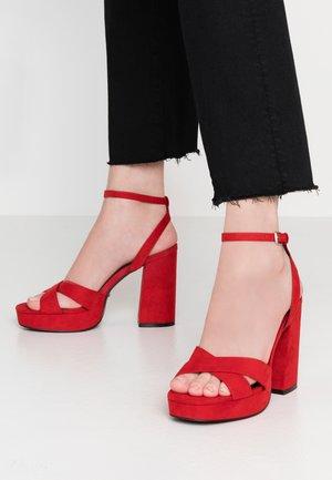 ONLAERIN CHECK - High heeled sandals - red