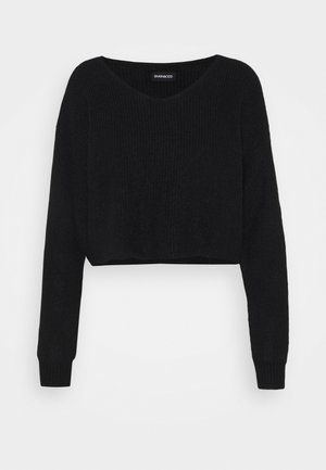 CROPPED V-NECK - Jumper - black