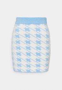 Glamorous - HOUNDSTOOTH KNIT SKIRT - Mini skirt - blue cream - 0