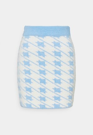 HOUNDSTOOTH KNIT SKIRT - Mini skirt - blue cream