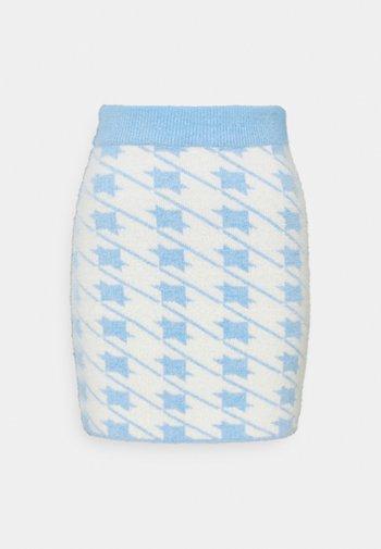 HOUNDSTOOTH KNIT SKIRT - Mini skirt - blue cream