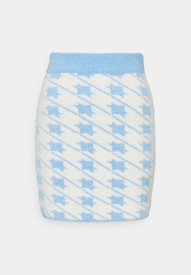 HOUNDSTOOTH KNIT SKIRT - Minigonna - blue cream