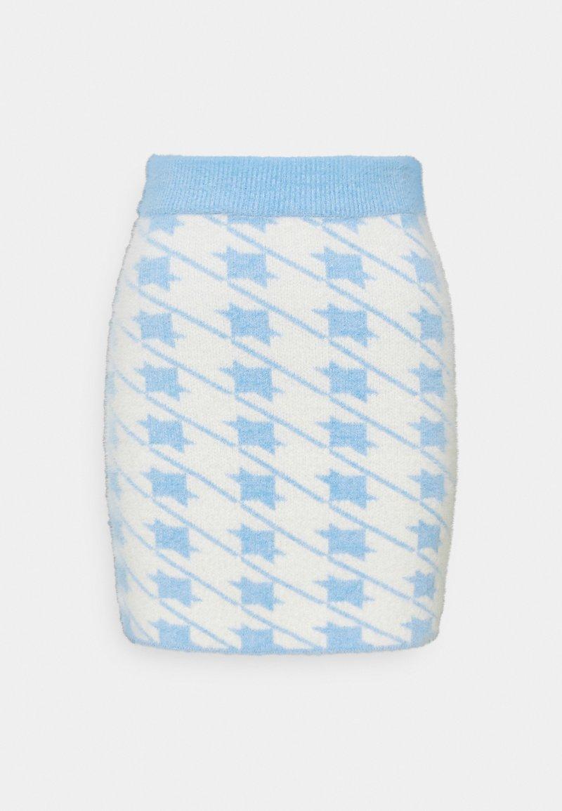 Glamorous - HOUNDSTOOTH KNIT SKIRT - Mini skirt - blue cream