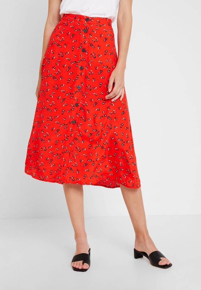BUTTON THRU MIDI SKIRT - A-line skirt - red floral