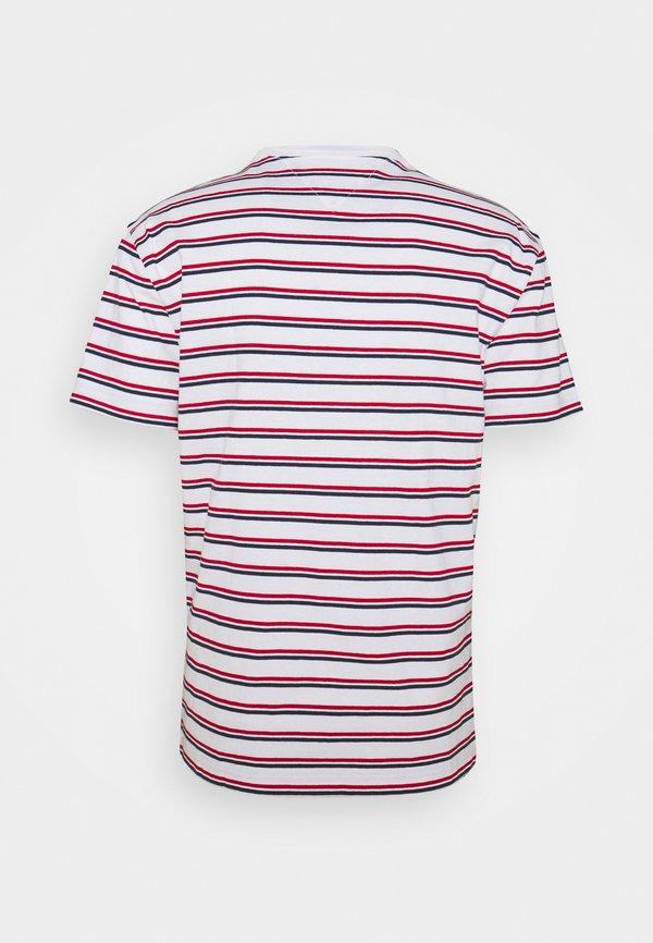 Tommy Jeans TWO TONE STRIPE CLASSIC TEE - T-shirt z nadrukiem - red/czerwony Odzież Męska ZXIZ
