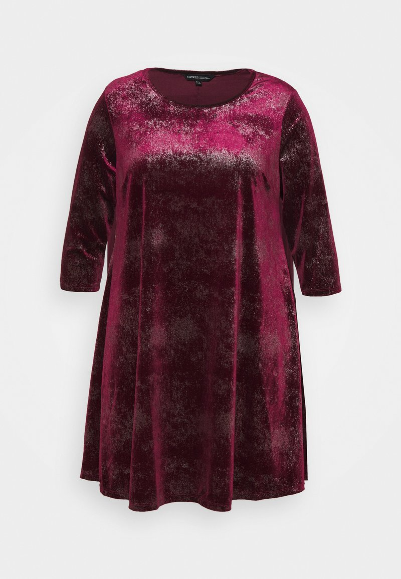 CAPSULE by Simply Be - V NECK 3/4 SLEEVE SWING DRESS - Cocktail dress / Party dress - mulberry
