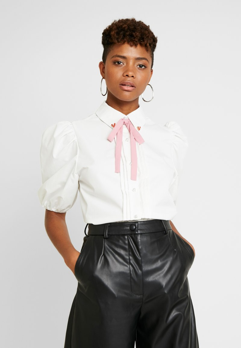 Sister Jane - OLYMPIC HEART PUFF SLEEVE BLOUSE - Button-down blouse - white