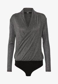 KARL LAGERFELD - WRAP BODY - Long sleeved top - silver - 3