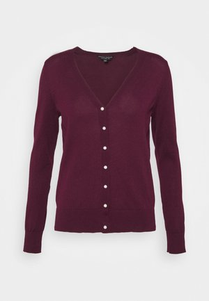 V NECK BUTTON - Cardigan - burgundy