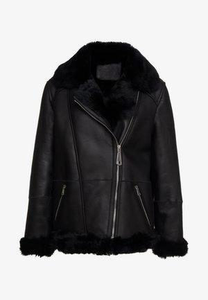 FREDA SHEARLNG JACKET - Kožená bunda - black