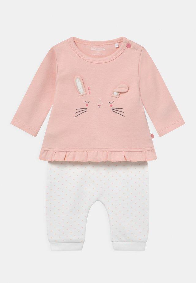 SET - Broek - light pink/white