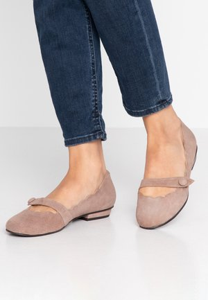 CARLA - Ankle strap ballet pumps - taupe