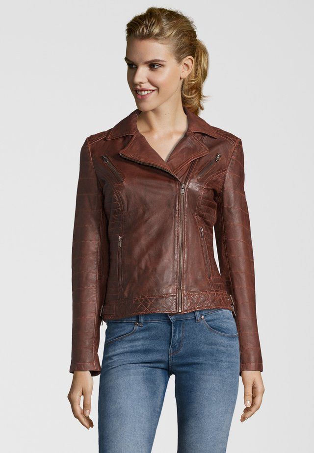 LOCKY - Leather jacket - d brown