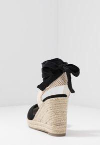 Lost Ink Wide Fit - ANKLE WRAP WEDGE  - Korolliset sandaalit - black - 5