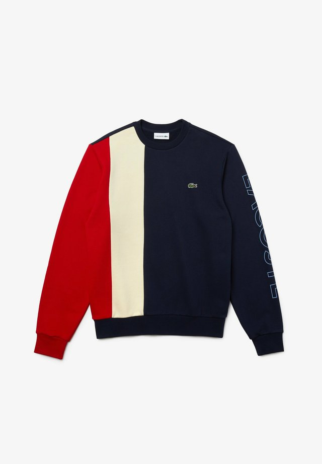 SH0169  - Sweatshirt - bleu marine / beige / rouge