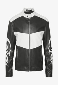 Jaded London - TRIBAL MOTORCROSS VEGAN JACKET - Faux leather jacket - black/white - 4