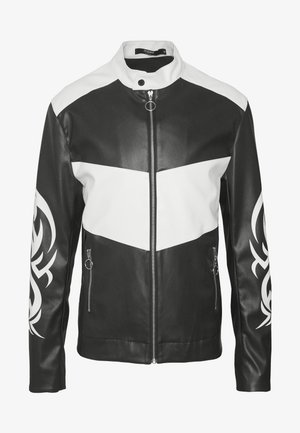 TRIBAL MOTORCROSS VEGAN JACKET - Faux leather jacket - black/white