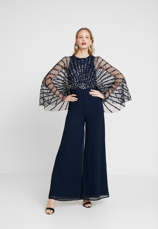 STRIPE EMBELLISHED WITH CAPE SLEEVES - Jumpsuit - navy