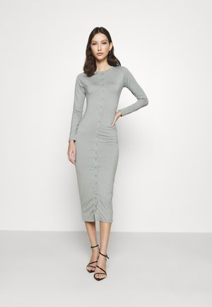 BUTTON THROUGH MIDI DRESS - Jersey dress - grey