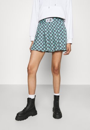 CHECKERBOARD SKIRT - Pleated skirt - black/green