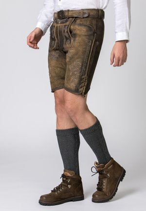 JAKOB - Leather trousers - brown