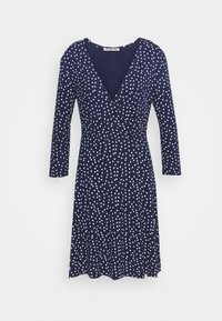 Quarter sleeves wrap mini dress - Jersey dress - dark blue/white